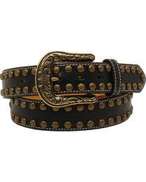 Nocona Women's Arrow Nailhead Leather Scroll Belt, , hi-res