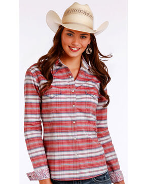 Panhandle Women's Red Horizontal Stripe Shirt , Red, hi-res