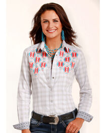 Rough Stock by Panhandle Women's White Antique Plaid Shirt , , hi-res