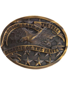 Cody James® Antiqued Oval America Belt Buckle, Silver, hi-res