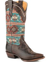 Roper Women's Chelly Aztec Print Cowgirl Boots - Snip Toe, , hi-res