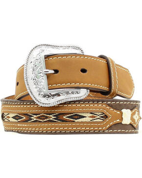 Nocona Kids' Western Woven Inlay Leather Belt, Brown, hi-res