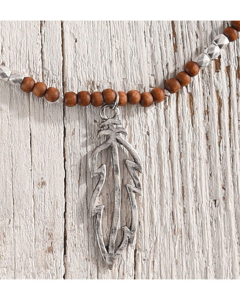 Shyanne Women's Beads and Feather Necklace, Silver, hi-res