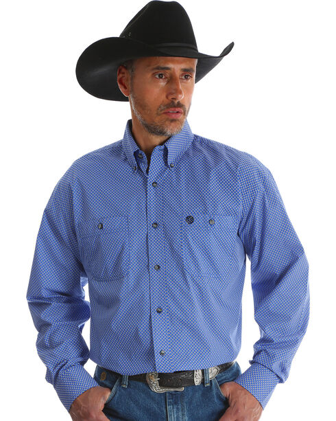 Wrangler Men's Blue Print George Strait Long Sleeve Shirt , Blue, hi-res