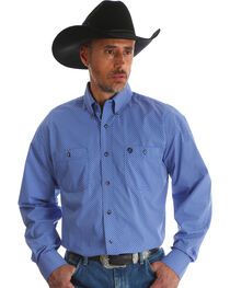 Wrangler Men's Blue Print George Strait Long Sleeve Shirt - Big & Tall , , hi-res