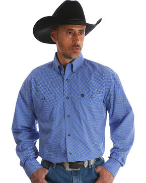 Wrangler Men's Blue Print George Strait Long Sleeve Shirt - Big & Tall , Blue, hi-res