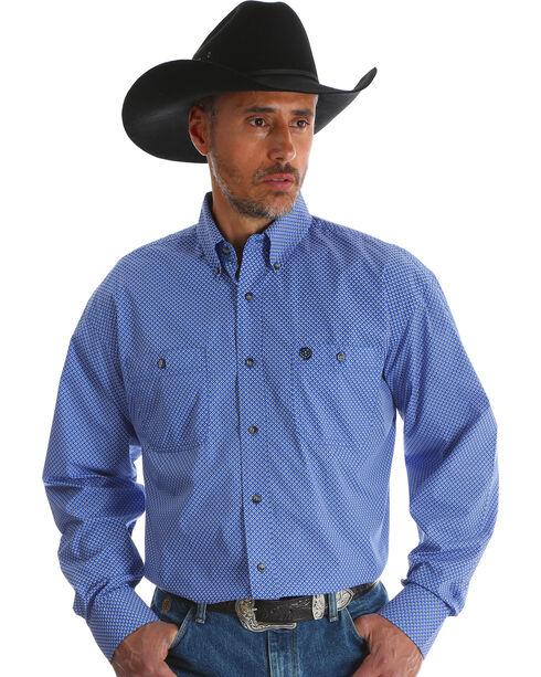 Wrangler Men's Blue Print George Strait Long Sleeve Shirt - Big & Tall , Blue, hi-res