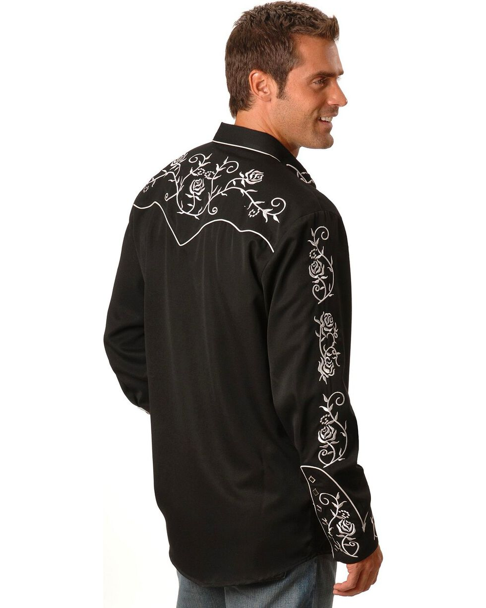 Scully Men's Floral Embroidered Western Shirt, Black, hi-res