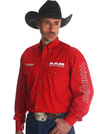 Wrangler Men's Red RAM Logo Western Shirt , , hi-res
