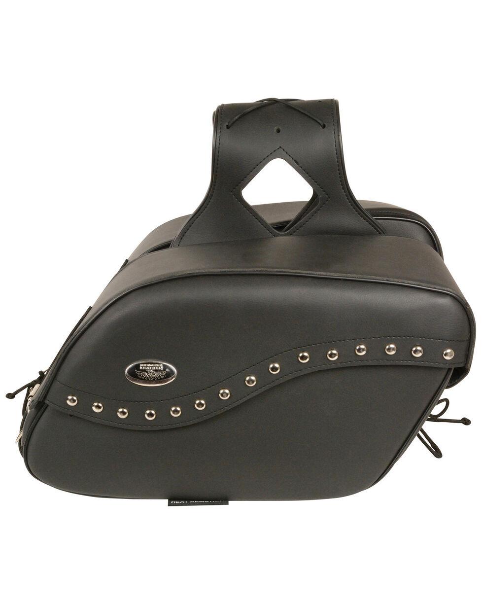 Milwaukee Leather Zip-Off PVC Studded Velcro Close Throw Over Saddle Bag, Black, hi-res