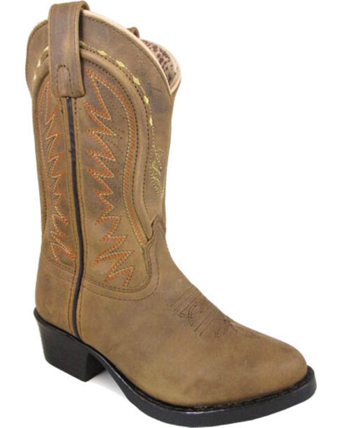 Smoky Mountain Girls' Tan Sienna Leather Cowboy Boots - Round Toe , Tan, hi-res