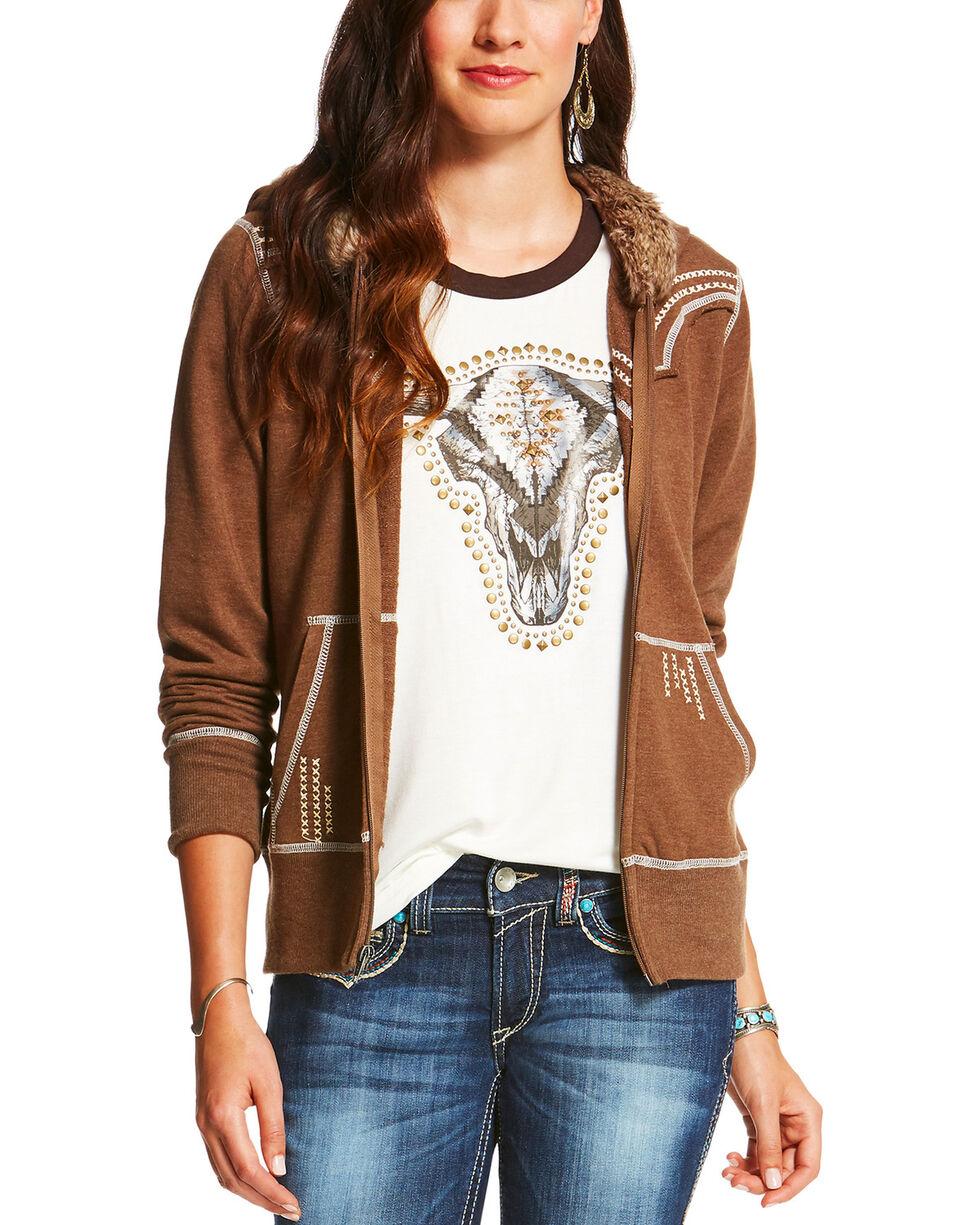 Ariat Women's Alpine Zippered Fur Trim Hoodie, Tan, hi-res