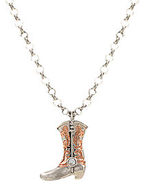 Montana Silversmiths Copper Scroll Boot Charm Necklace, , hi-res