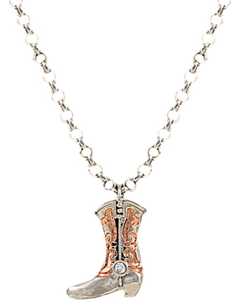 Montana Silversmiths Copper Scroll Boot Charm Necklace, Silver, hi-res
