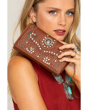 Shyanne Women's Rhinestone Swirl Wallet, Brown, hi-res