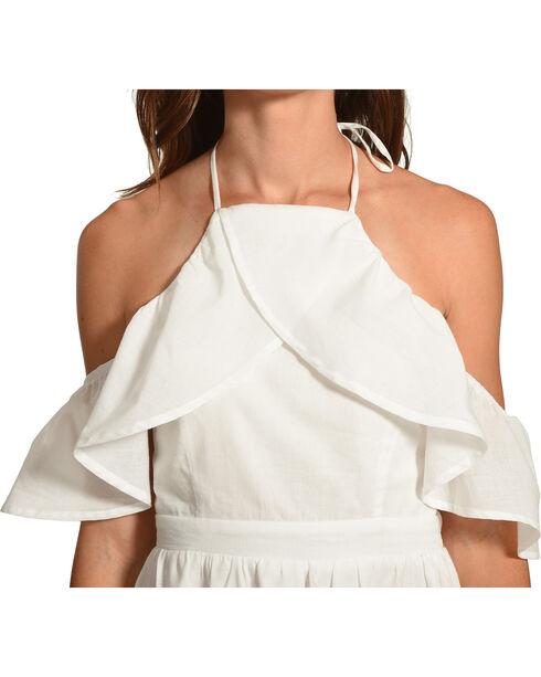 Polagram Women's High Neck Cold Shoulder Dress, White, hi-res