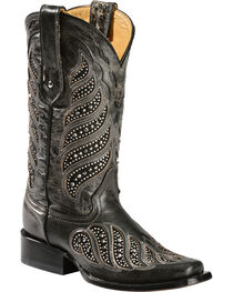 "Corral Women's 11"" Crystal Inlay Square Toe Boots, , hi-res"