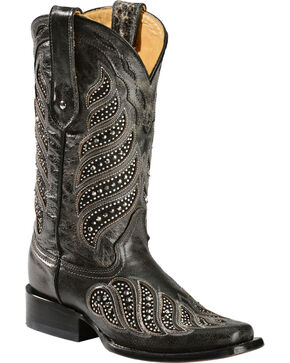 """Corral Women's 11"""" Crystal Inlay Square Toe Boots, Black, hi-res"""
