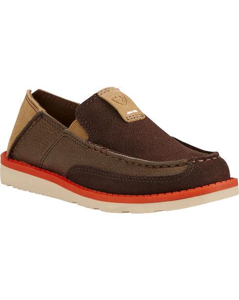 Ariat Kid's Chocolate Cruiser Shoes - Moc Toe, Chocolate, hi-res