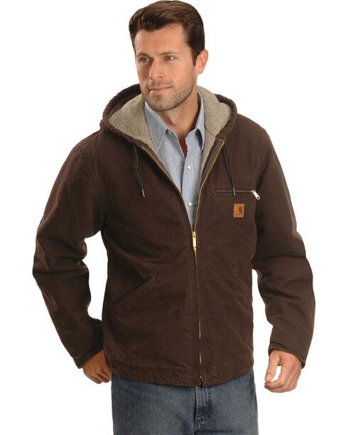 Carhartt Men's Sandstone Sierra Sherpa Lined Jacket, Brown, hi-res