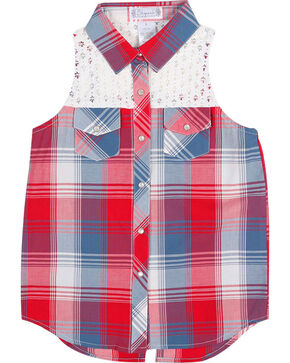 Shyanne® Girls' Plaid Crochet Sleeveless Shirt, Multi, hi-res