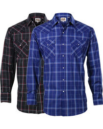 Ely Cattleman Men's Assorted Windowpane Plaid Long Sleeve Shirt, , hi-res