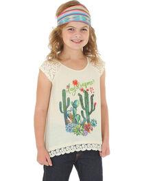 Wrangler Girls' Short Sleeve Cactus Print Tee, , hi-res