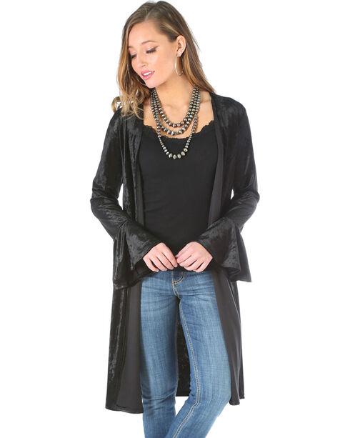 Wrangler Women's Black Velvet Duster , Black, hi-res