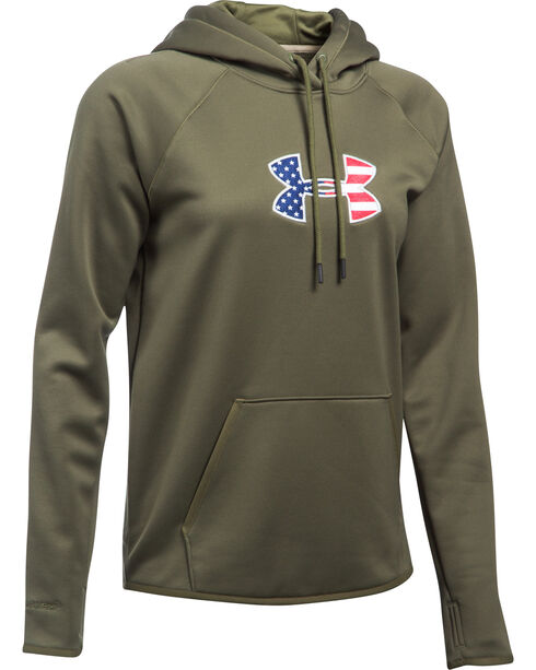 Under Armour Women's Green Big Flag Logo Tactical Hoodie, Green, hi-res