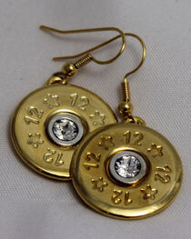SouthLife Supply Abigail Shotshell Single Dangle Earring in Traditional Gold with Crystal, , hi-res