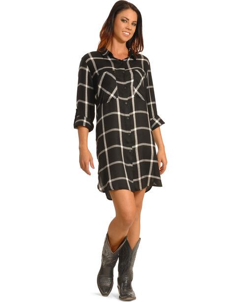 New Direction Women's Black Plaid Shirt Dress , Black, hi-res