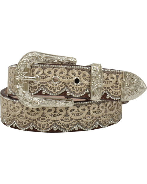 Angel Ranch Women's Rhinestone Lace Leather Belt, Brown, hi-res