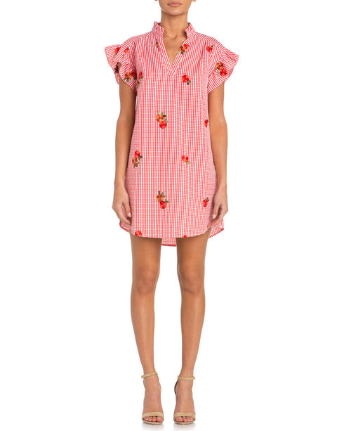 Miss Me Gingham Embroidered Dress, , hi-res