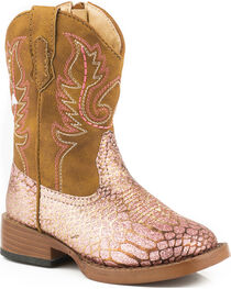 Roper Toddler Girls' Pink Glittery Western Boots - Square Toe, , hi-res