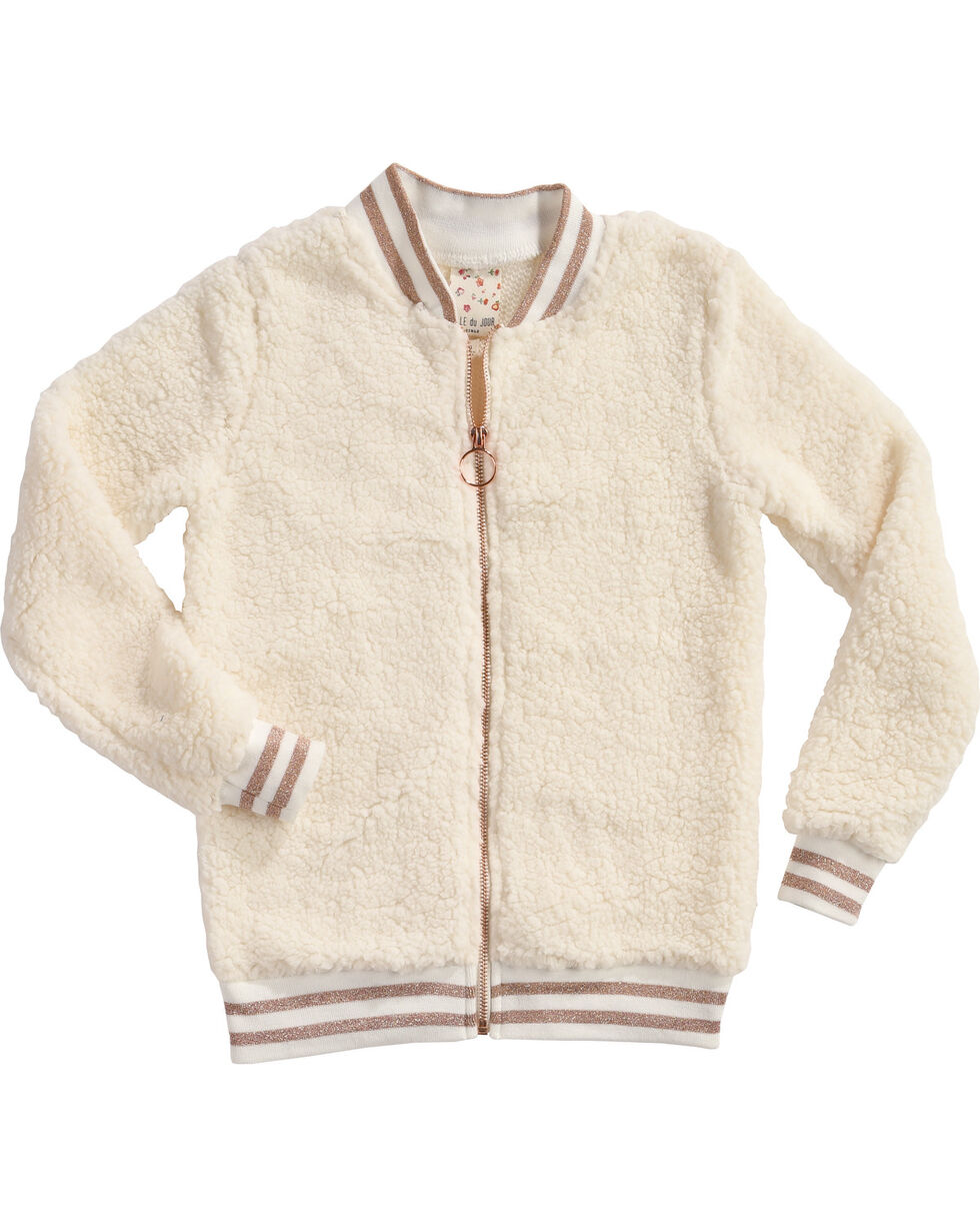Self Esteem Girls' Woobie Bomber Sweater, Ivory, hi-res