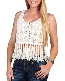 Shyanne® Women's Crochet Fringe Vest, , hi-res