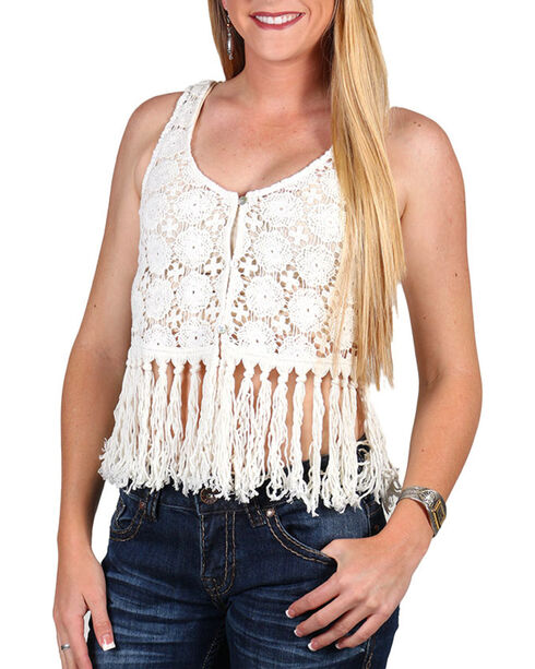 Shyanne® Women's Crochet Fringe Vest, Ivory, hi-res