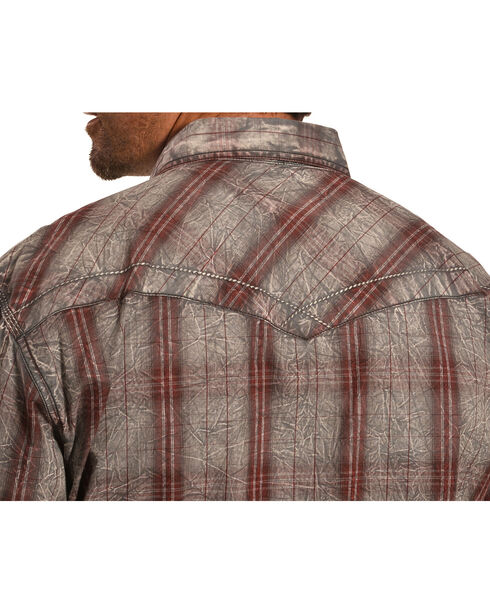 Crazy Cowboy Men's Distressed Red Plaid Western Snap Shirt  , Red, hi-res