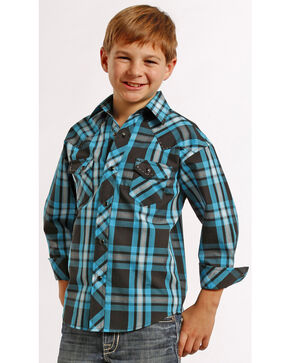 Rock and Roll Cowboy Boys' Ombre Plaid Snap Western Shirt , Plaid, hi-res