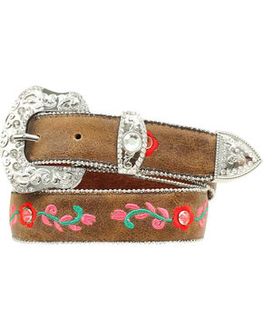 Blazin Roxx Girls' Floral Embroidered Belt - 18-28, Brown, hi-res