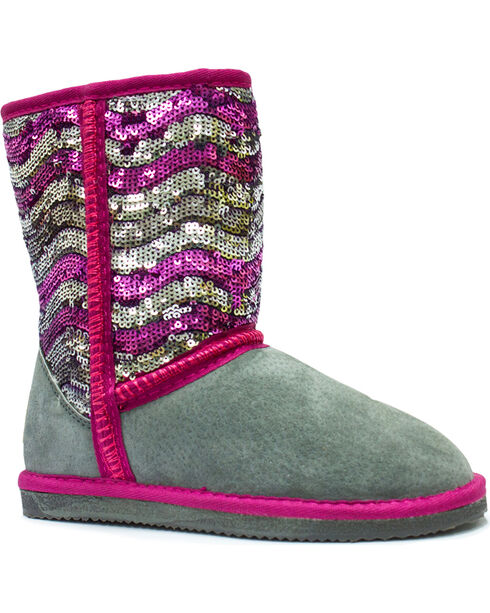 Lamo Footwear Girl's Sequin Pattern Boots , Stripe, hi-res