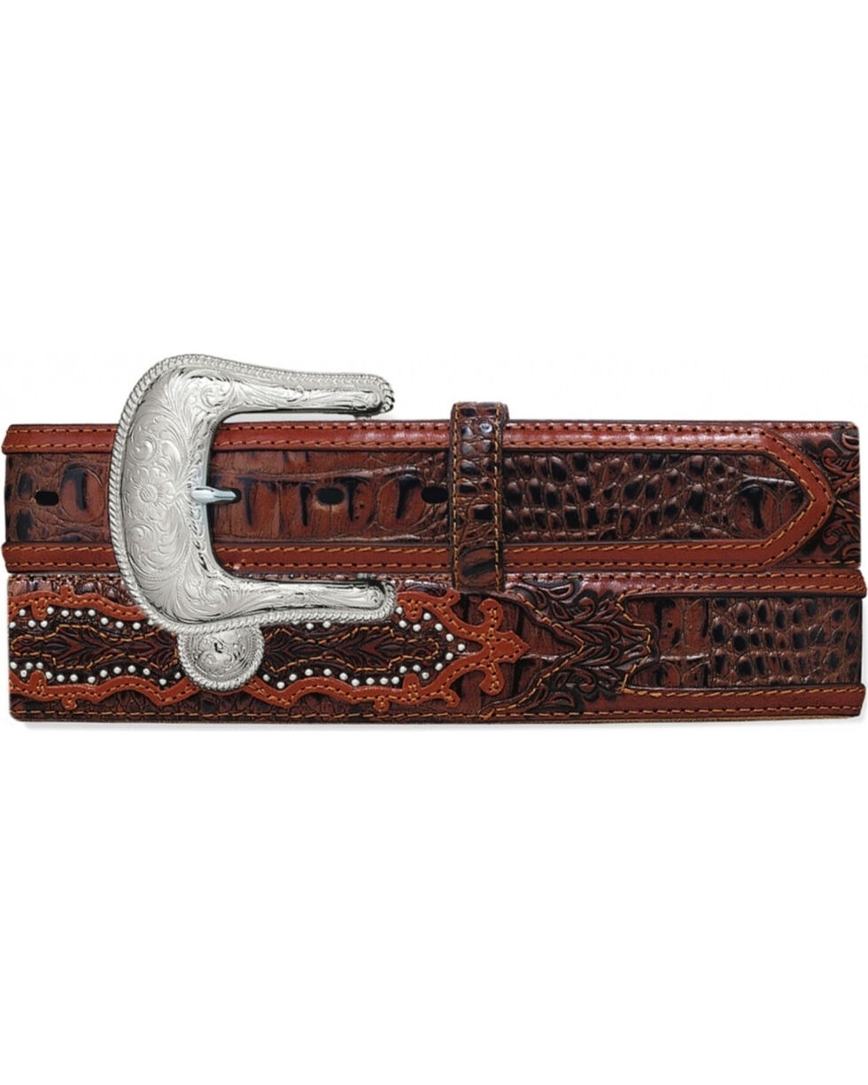 Tony Lama Men's Southern Caiman Underlay Belt, Brown, hi-res