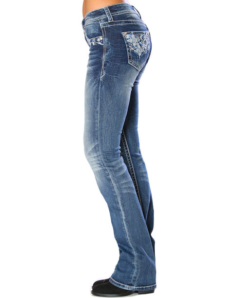 Grace in LA Women's Indigo Diamond Pocket Jeans - Boot Cut , Indigo, hi-res