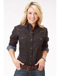 Roper Women's Black Long Sleeve Western Style Snap Shirt, , hi-res