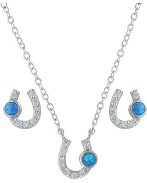 Montana Silversmiths Women's Horseshoe Jewelry Set, Silver, hi-res