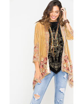 Johnny Was Women's Beige Aspen Velvet Draped Cardigan , Beige/khaki, hi-res