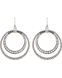 Wrangler Rock 47 Outlaw Rider Rope & Rhinestone Circle Earrings, , hi-res