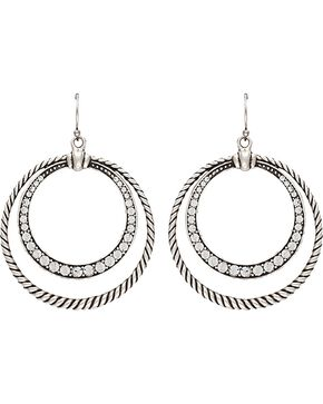 Wrangler Rock 47 Outlaw Rider Rope & Rhinestone Circle Earrings, Silver, hi-res