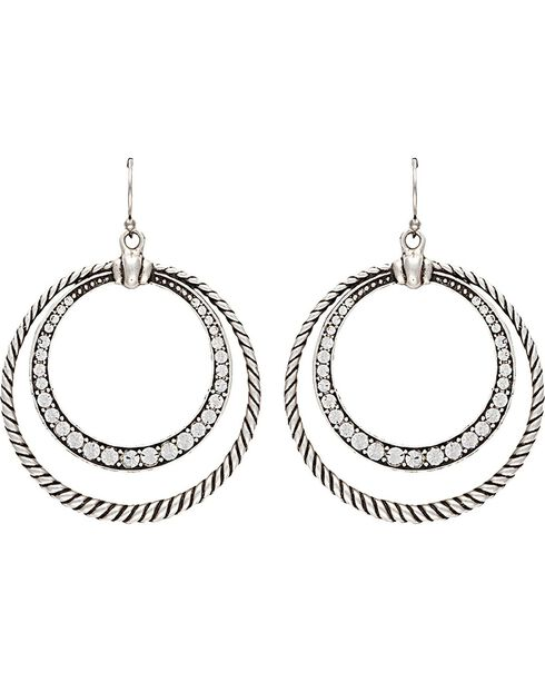 Wrangler Rock 47 Outlaw Rider Rope & Rhinestone Circle Earrings, Silver, hi-res