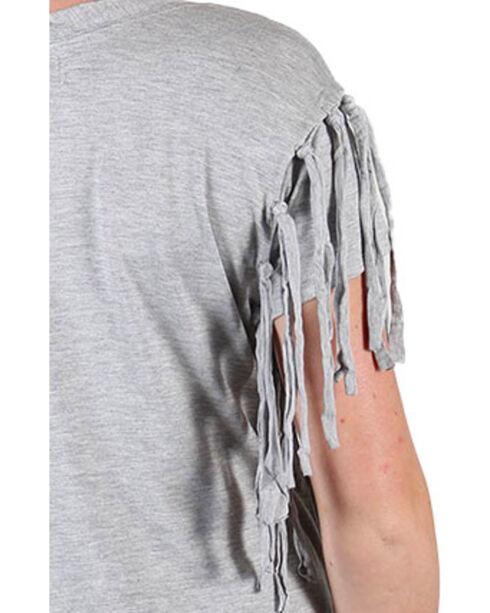 Shyanne® Women's Paisley and Fringe Short Sleeve Shirt , Heather Grey, hi-res